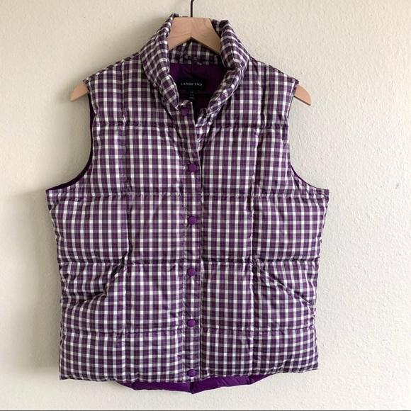 Lands' End Jackets & Blazers - Lands' End | Puffer Vest Purple Plaid Jacket